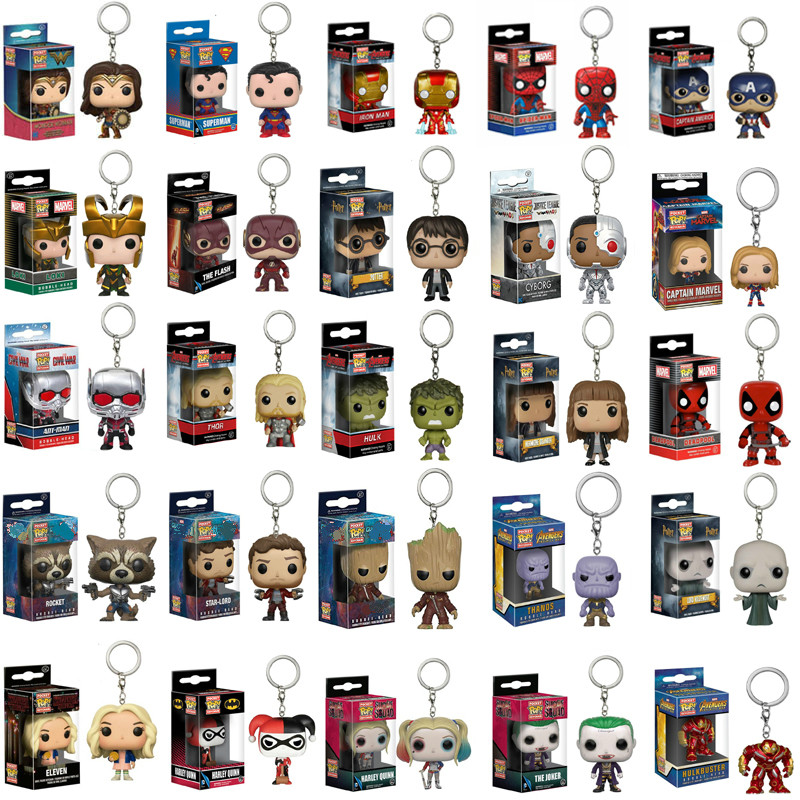 FUNKO POP Avengers Infinity War Batman Flash Clown Thanos Antman Hulkbuster Thor Loki Grooted Action Figures Keychain Toy Gifts