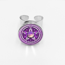 initial / Glamour Purple Triple Moon Goddess Ring Pentagram Witchcraft Protection Crescent Supernatural Snap Ring triple moon