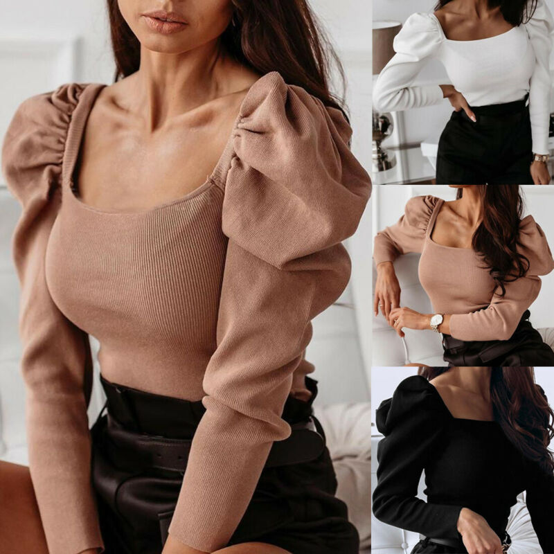 Hot Women Casual Solid Puff Ladeis Long Sleeve Square Neck Knitted Tops Blouse Slim Fit Clubwear Shirts Winter NEW Fashion
