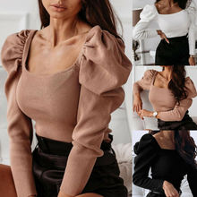 Hot Women Casual Solid Puff Ladeis Long Sleeve Square Neck Knitted Tops