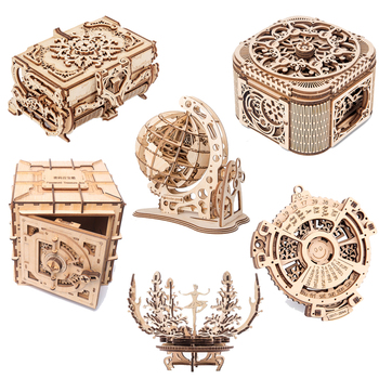 new wooden 3D assembled creative DIY puzzle wooden mechanical transmission antique box model assembled toy gift 3d puzzles