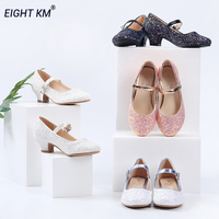 EIGHT KM Low Heeled Kids Shoes for Girls Mary Jane Dress Formal Party Princess Shoe for Girl Fashion Adjustable Snow White Dance