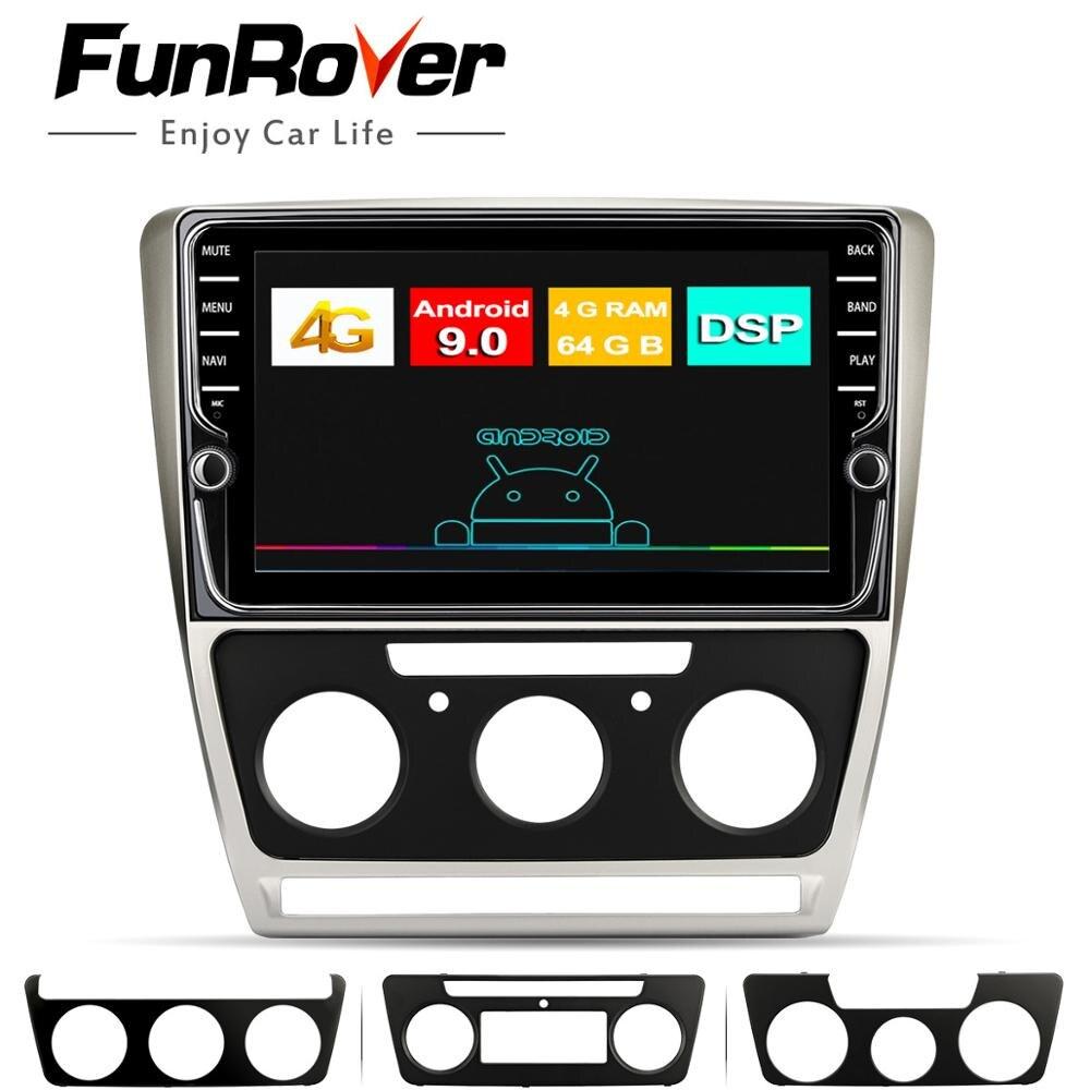 Funrover android9.0 reprodutor multimídia do carro para skoda octavia 2012 2013 a 5 a5 yeti fabia 2din carro dvd gps navegação rádio 4g + 64g