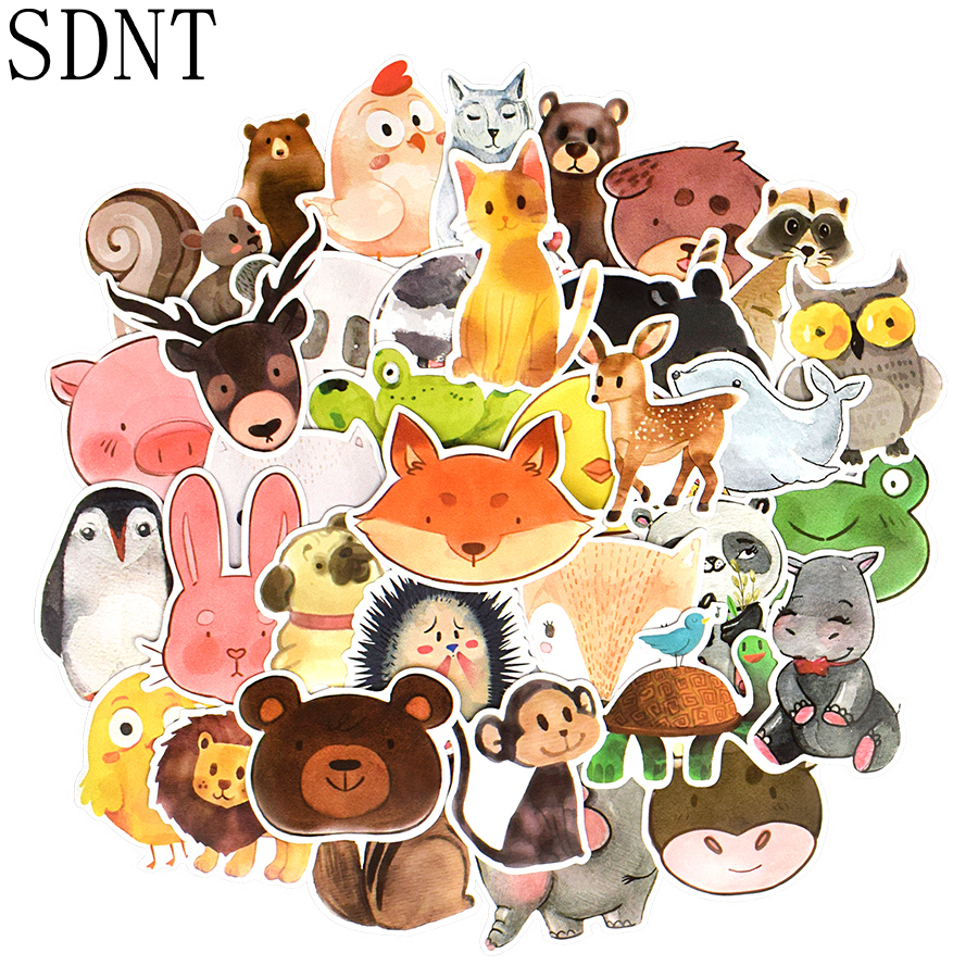 50 PCS Cute Animal Stickers Cartoon Watercolor Anime Funny Waterproof Stickers Toys For Children DIY Scrapbook Laptop Suitcase