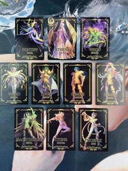 цена на 10pcs/set Saint Seiya Golden Saint Golden Zodiac Redraw Repaint Original Composite Craft Hobby Game Collection Cards