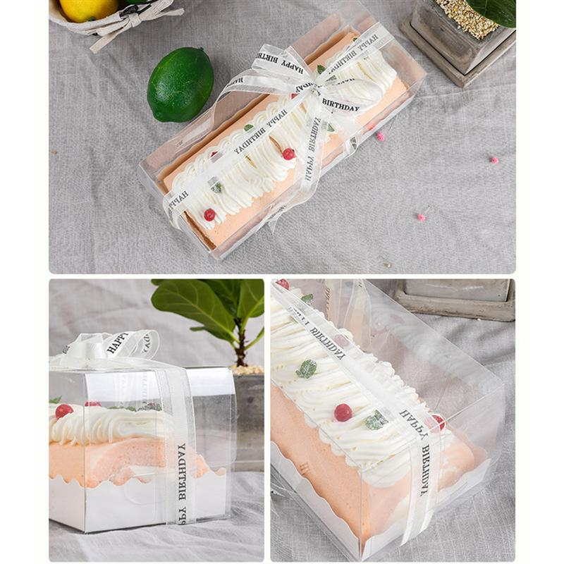 5PCS Swiss Roll Packing Boxes Rectangle Baking Cake Boxes Clear Long Dessert Boxes For Bakery