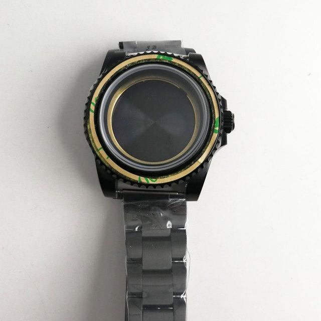 最新のホット 40 ミリメートルパーニスステンレスブラック pvd ケース硬化ミネラルサファイアガラスフィット 2828 2836 miyota 82 運動メンズ時計ケース