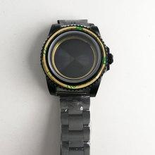 החדש חם 40mm parnis נירוסטה שחור PVD מקרה מוקשה מינרל ספיר זכוכית fit 2828 2836 Miyota 82 תנועה Mens שעון מקרה