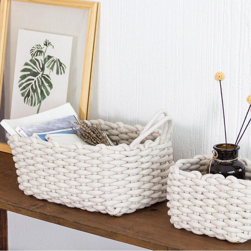 Скандинавские ручные тканые корзины для хранения, качественный толстый Хлопковый Канат, практичный органайзер для косметики, креативная н...