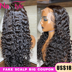 Image 1 - 13x4 Lace Fronl Human Hair Wigs Fake Scalp Preplucked Bleached Knots Curly Human Hair Wigs Long Natural Peruvian Hair 150% Remy