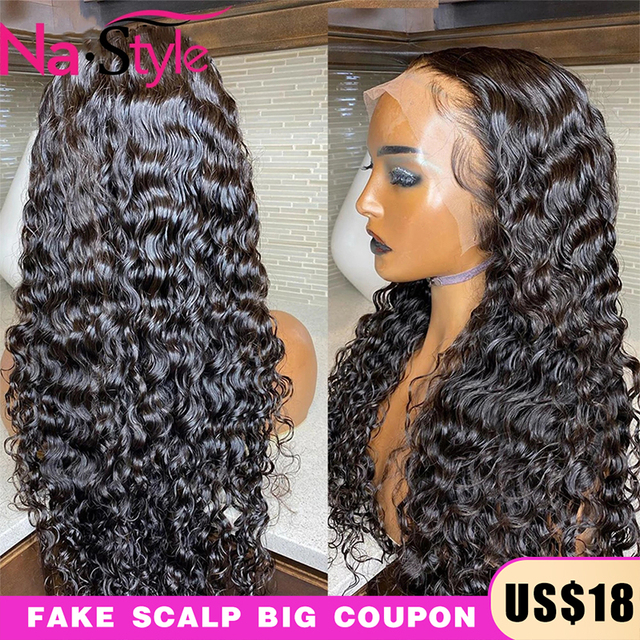 13x4 Lace Fronl Human Hair Wigs Fake Scalp Preplucked Bleached Knots Curly Human Hair Wigs Long Natural Peruvian Hair 150% Remy