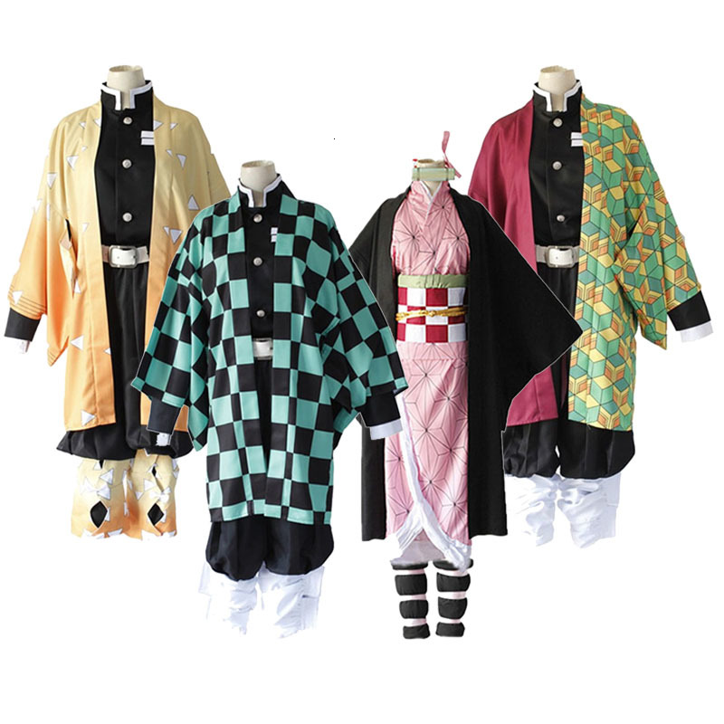Anime Demon Slayer Kimetsu No Yaiba Tanjiro Kamado Wigs Uniform Cosplay Costume Mens Kimono Halloween Costumes For Women CS010