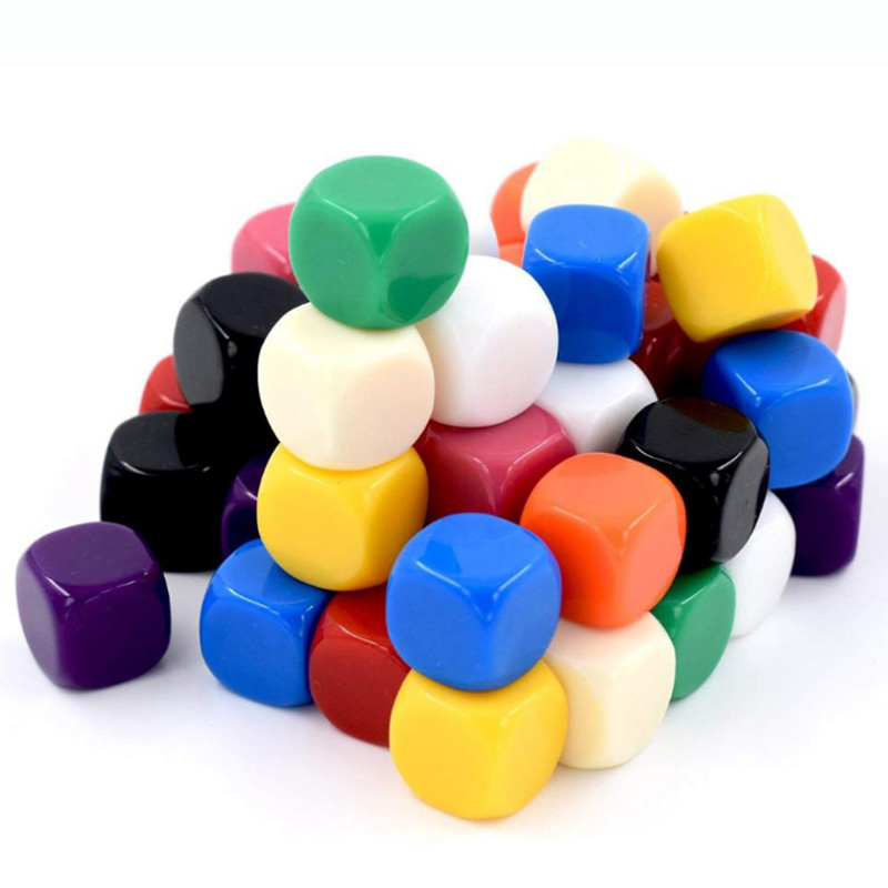 10 PCS DIY Blank Dice Colorful Dice Puzzle Game Send Children 6 Sided Dice 16mm