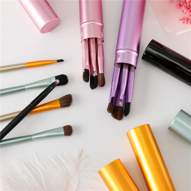 New 5pcs Professional Travel Portable Mini Eye Makeup Brushes Set Smudge Eyeshadow Eyeliner Eyebrow Brush Lip Make Up Brush kit 3