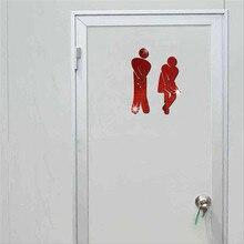 Door-Sticker Entrance-Sign DIY Home 3D Mirror Toilet for Hotel