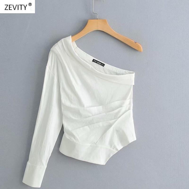 Новинка, женская модная однотонная плиссированная рубашка на одно плечо, Женская белая блузка с асимметричным подолом, roupas femininas, сорочка, LS3222