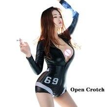 Mulher quente erótico látex aberto virilha bodysuit sexy couro pvc lingerie inferior crotchless alta elástica pornografia nua peito collant