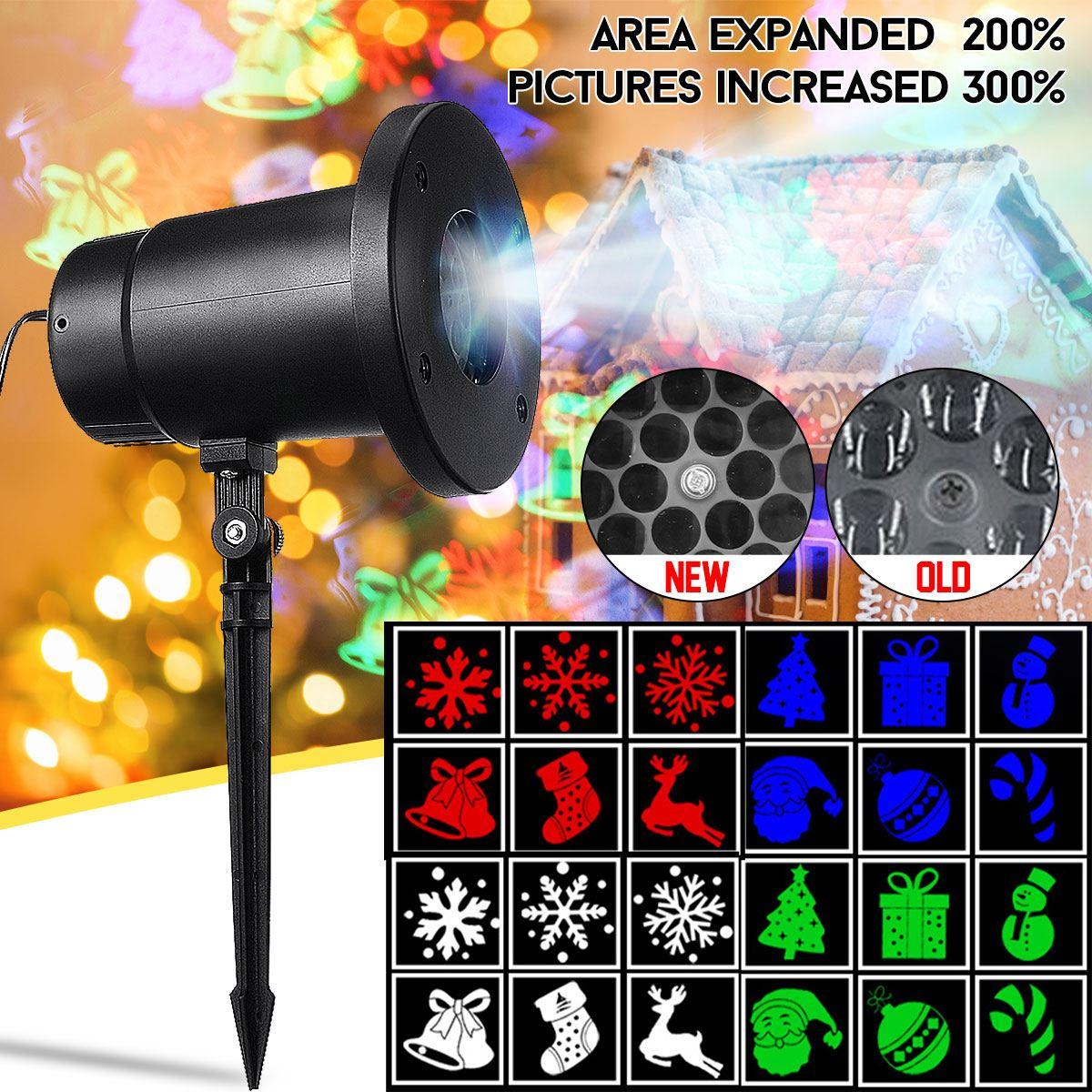 Christmas Projector Lamp Outdoor Garden Lawn  Light Snowflake Santa Decor Landscape Light Black Card Projector Lamp
