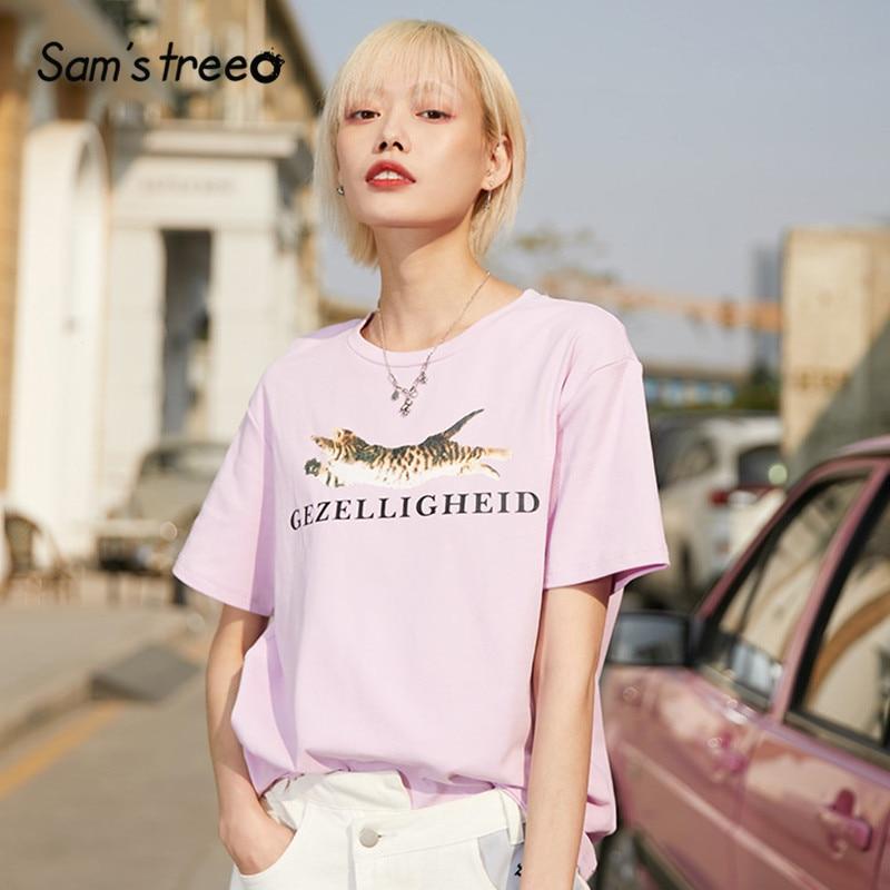 SAM'S TREE Multicolor Cat Print Minimalist Style T Shirts 2020 New Round Collar Short Sleeve Casual Office Ladies Basics Tops