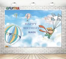 Cartoon Kleine Prinz Fotografie Hintergrund Jungen Geburtstag Party Foto Hintergrund Blau Ballon Sky Vinyl Photo Booth Requisiten