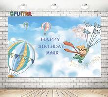 Karikatür küçük prens fotoğraf Backdrop Boys doğum günü partisi fotoğraf arka plan mavi balon gökyüzü vinil fotoğraf kabini sahne