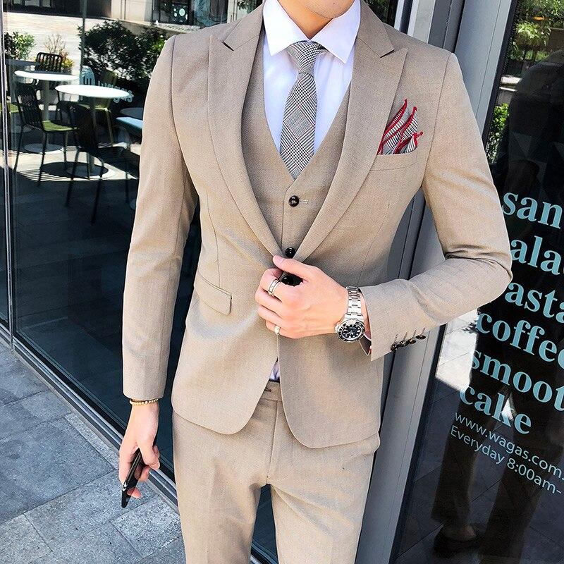 Высококачественный Костюм Джентльмена классический мужской тонкий синий клетчатый Повседневный Свадебный костюм удобный деловой повседн... - 3