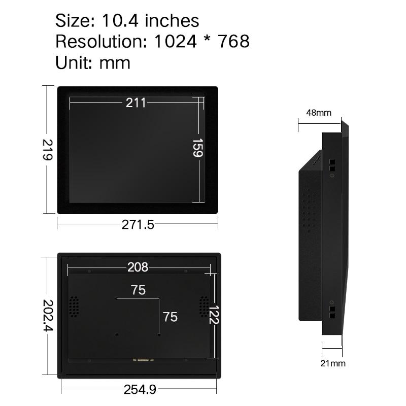 10.1 12 15 17 polegadas nenhum monitor do tela táctil
