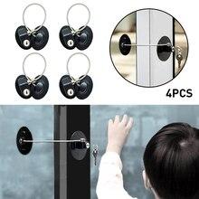 4PCS Children Safety Refrigerator Door Lock with 2 Keys Infant Kids  Security Window Lock Cabinet Lock Fridge Freezer Locks
