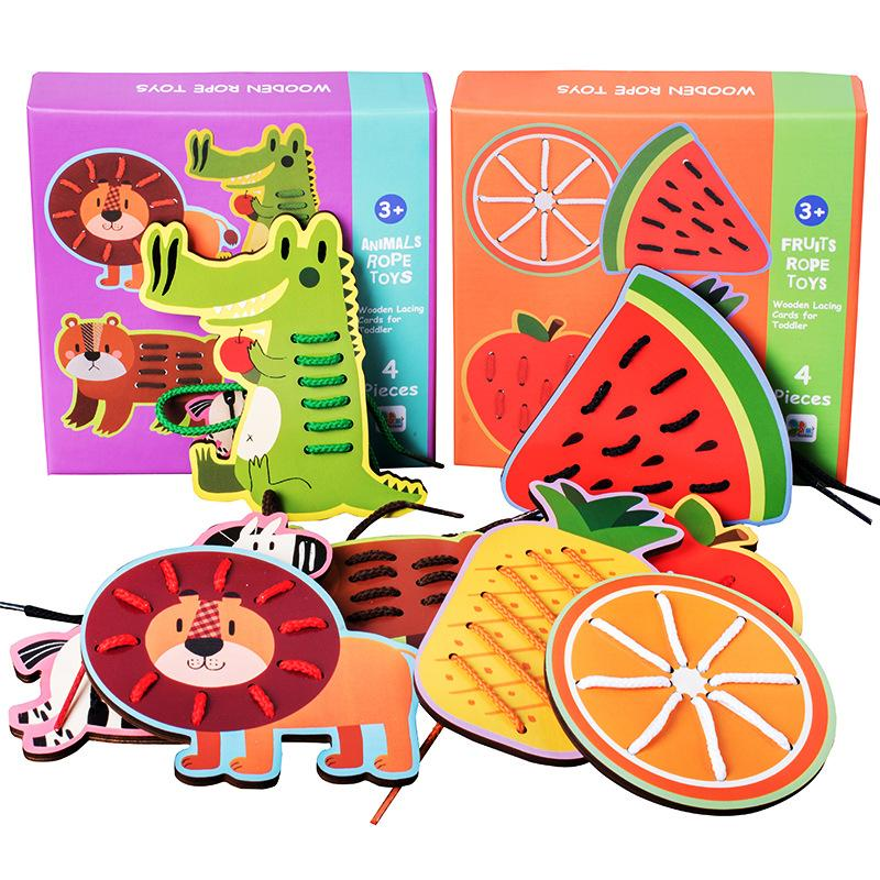 4pcs Wooden Large Fruit Animal Threading Board Toys For Children Puzzle Early Education Cognitive Desktop Toys Baby Gift