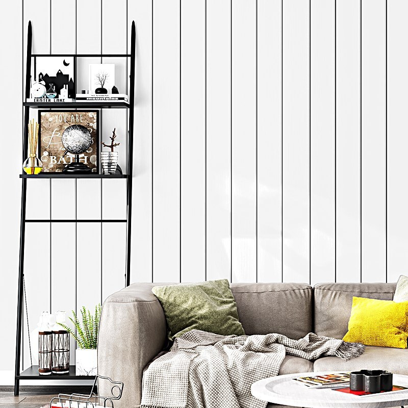 Nordic Wallpaper INS White Wood Grain Faux Board Black And White Vertical Striped Living Room Bedroom TV Background Wallpaper