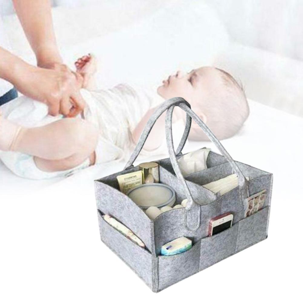 Portable Baby Diaper Caddy Organizer Felt Nursery Essentials Storage Carrier Bag For Car Travel Changing Table Organizer