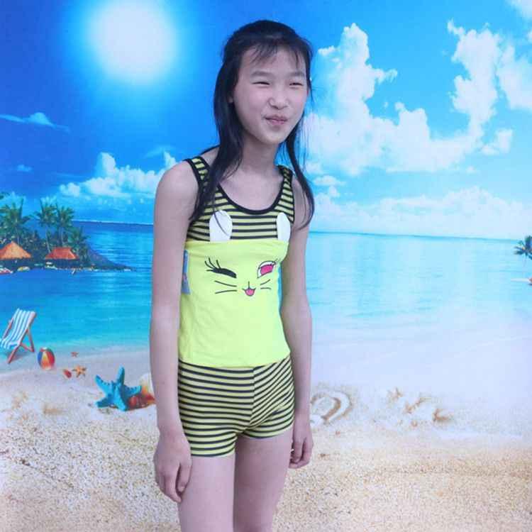 Sản Phẩm Mới 2018 Bé Gái Chia Loại 2 Bộ Đồ Tắm Hàn Quốc-Phong Cách Boxer Tour Biển Áo Tắm Trẻ Em đồ Bơi