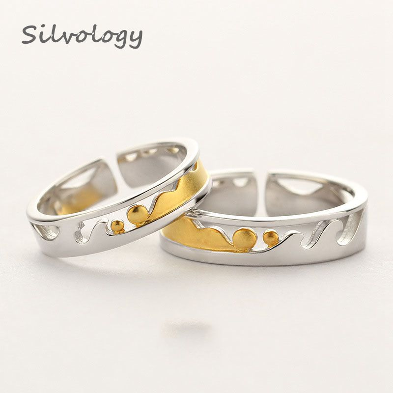 Silvology 925 Sterling Silver Pure Love Couple Rings Original Design 18K Gold Romantic Rings 2019 Silver 925 Lovers Jewelry Gift