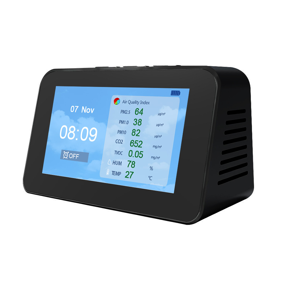Tools : DM601 PM2 5 PM1 0 PM10 CO2 TVOC Particle Detectors Multi-function  LCD Screen Air Quality Detector Temperature Humidity Monitor
