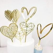 2021 novo amor casamento bolo topper ouro feliz dia dos namorados rosa coração bolo topper para casamento festa de aniversário decorações do bolo