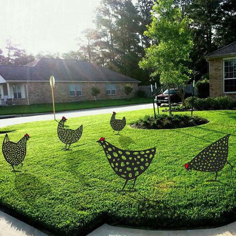 Big Size Chicken Black Hen for Easter Gardening Ornaments Yard Metal Art Outdoor Garden Backyard Decoration Gift Lawn Stakes