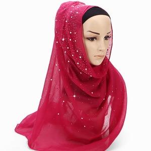 Image 4 - 2020 New Ladies Diamond Glitter Solid Color Plain Cotton Jersey Hijab Scarf Women Muslim Long Headband Hair Scarfs Echarpe Femme