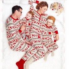 Семейный Рождественский пижамный комплект; одежда для всей семьи; пижамы для взрослых и детей; Детский комбинезон с Санта-Клаусом; одинаковая Рождественская одежда для сна для всей семьи