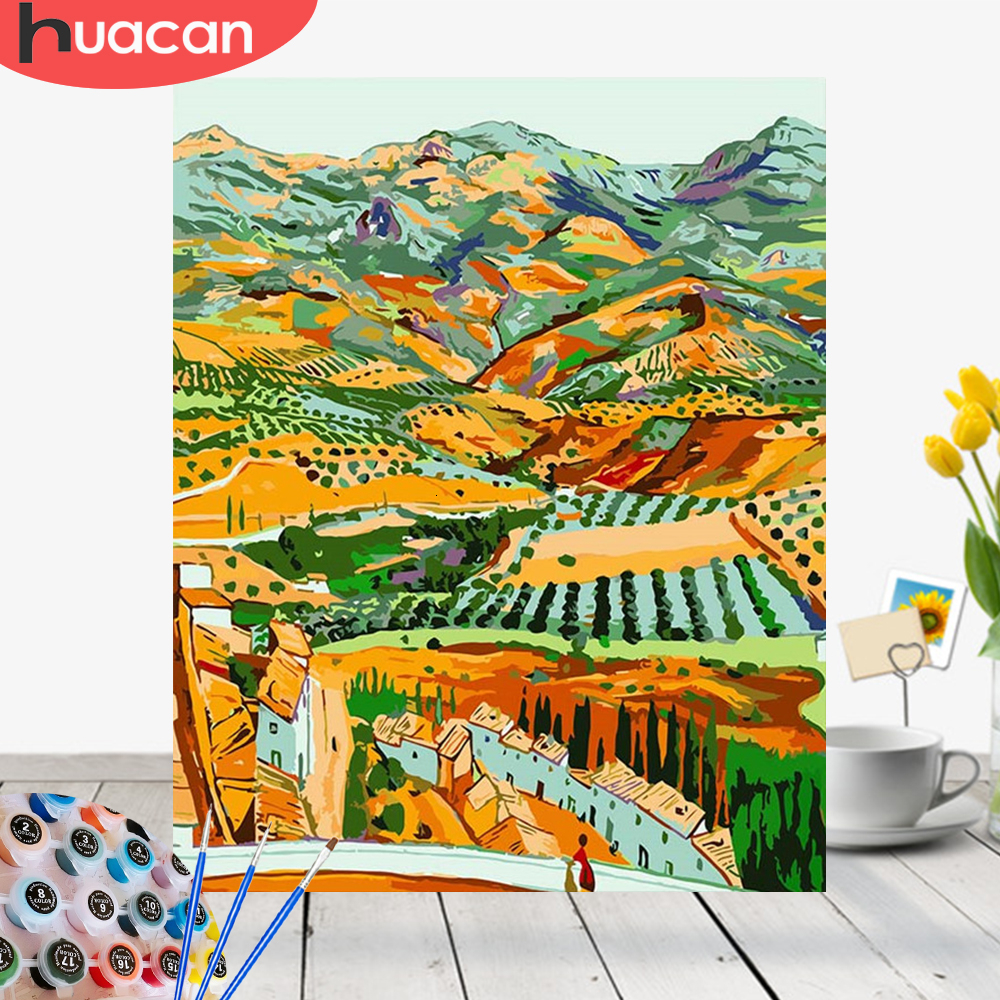 HUACAN Picture By Numbers Landscape Mountain Acrylic Drawing Canvas Castle Painting For Adult Wall Art DIY Home Decor