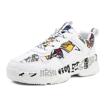 цены Sneakers Women Summer Woman Casual Fashion Shoes Graffiti Flats Ladies Vulcanized Shoes White Sneakers Zapatos Mujer