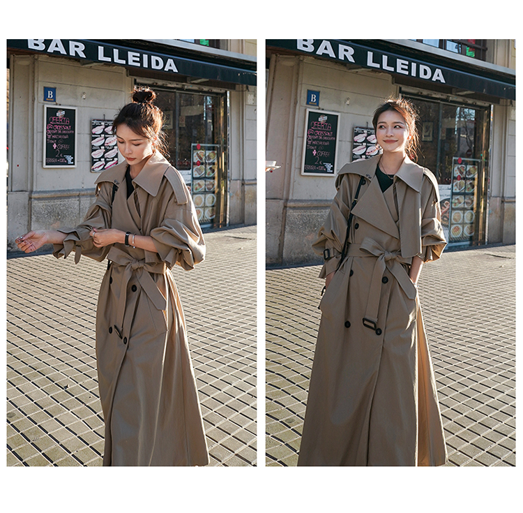 Ha584a558235f4e3aae1dcc702488566cw Korean Style Loose Oversized X-Long Women's Trench Coat Double-Breasted Belted Lady Cloak Windbreaker Spring Fall Outerwear Grey