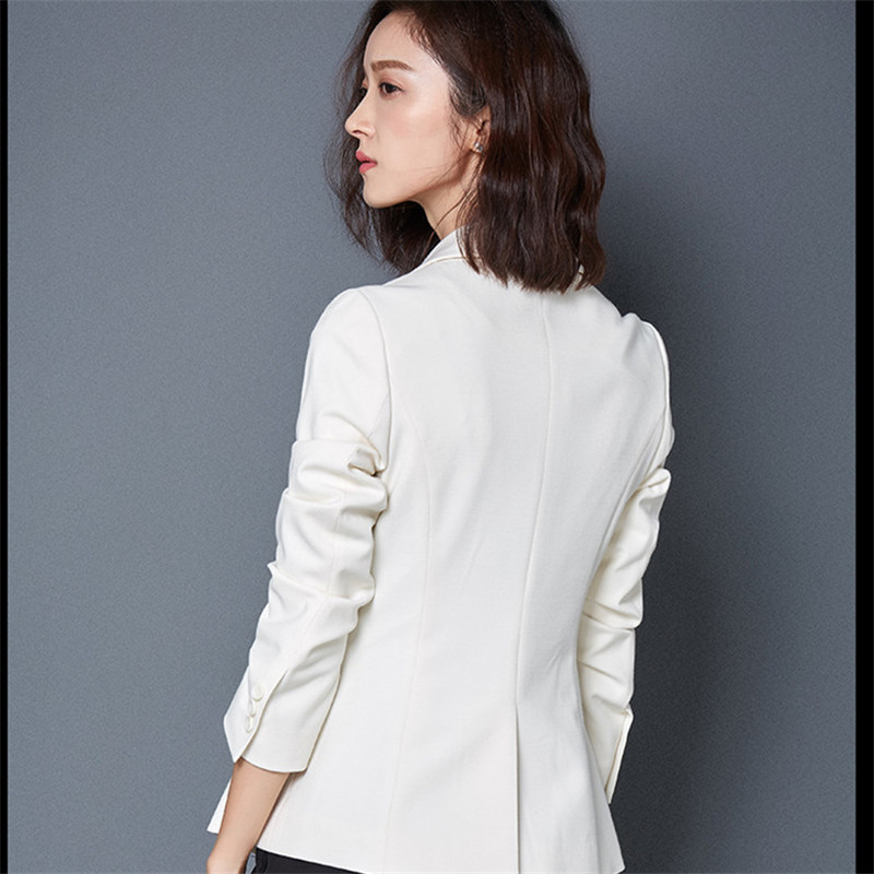 Black/White Slim Long Sleeved Women Blazers And Jackets Casual Spring Summer Femme Blazer Feminino Manga Longa CJ060