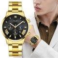 2020 лучший бренд класса люкс Для Мужчин's часы золотые Нержавеющаясталь часы мужские спортивные часы Для мужчин кварцевые Повседневное нар...
