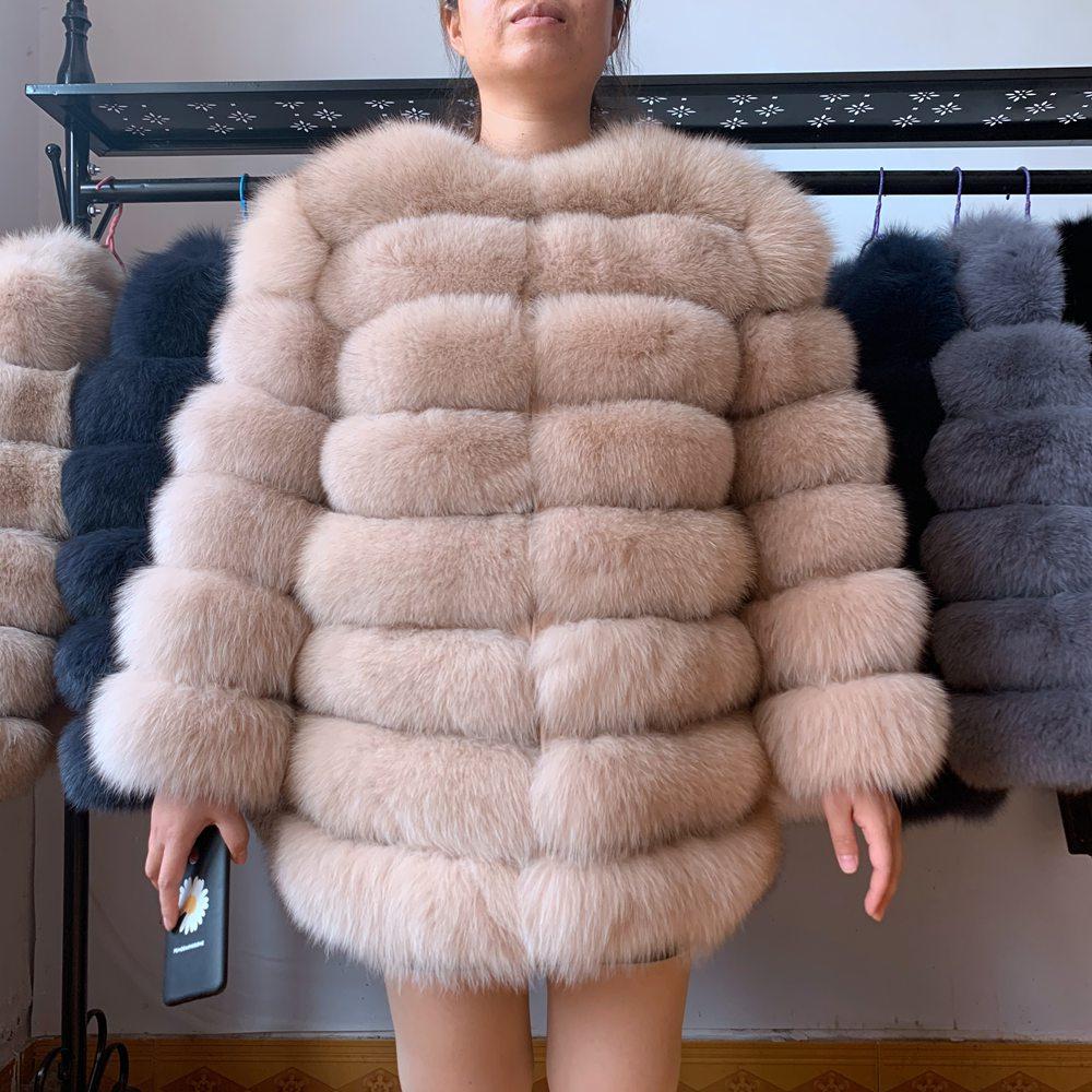 Женское меховое пальто 70 см, натуральное зимнее пальто из лисьего меха с меховым жилетом, пальто для девочек, женские жилеты, пальто с лисьим...