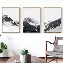 Современный минималистичный пейзаж холст живопись Снежная гора