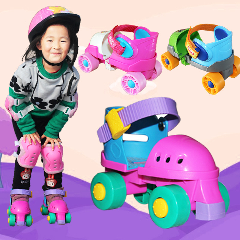 EUR size 20-30 Adjustable Children Baby Two Line Roller Skates Double Row 4 Wheel Skate Shoes Safety Off Button Resistance