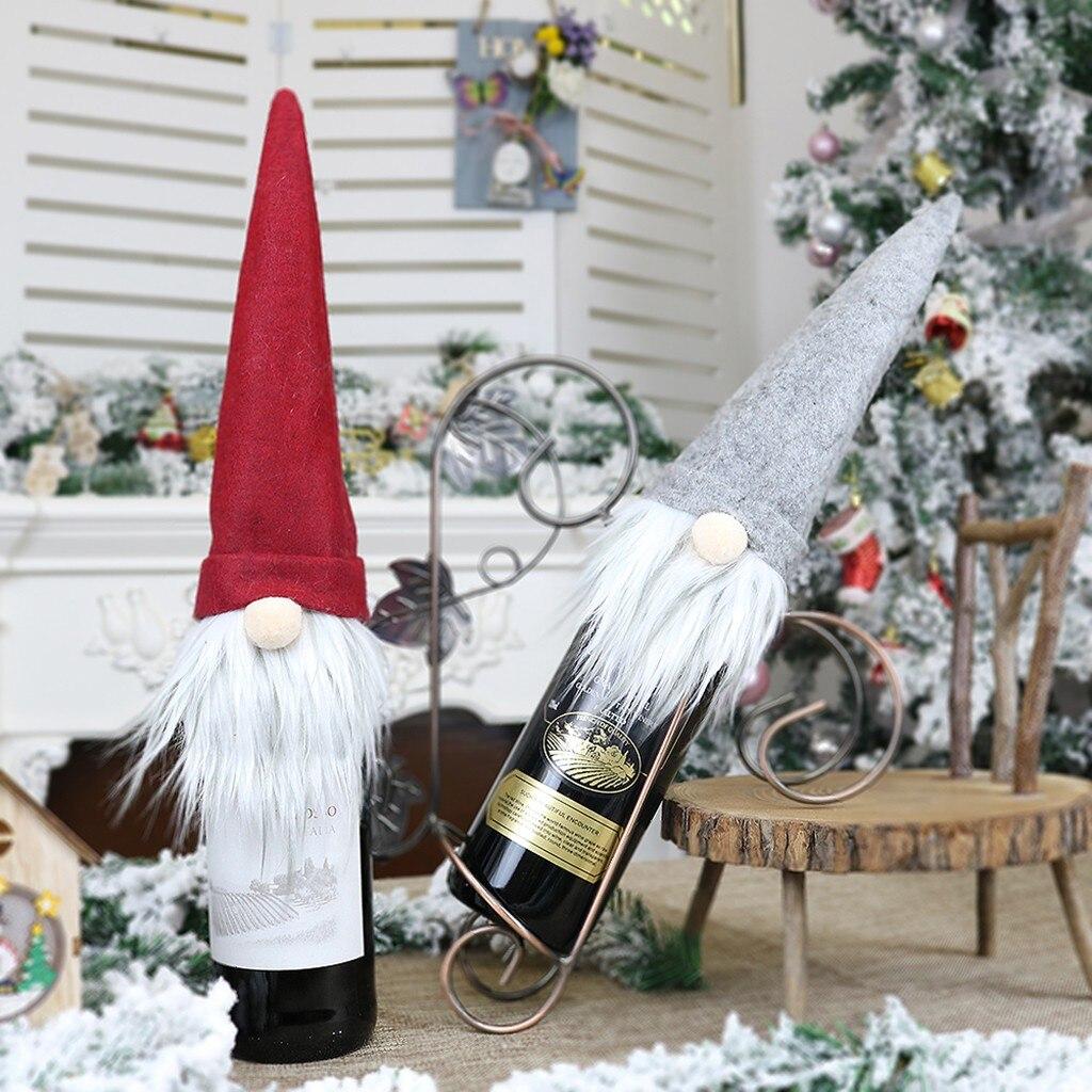 2020 noel şarap şişesi kapağı mutlu yılbaşı dekoru ev için noel masa süsü noel hediyesi mutlu yeni yıl 2021 Navidad