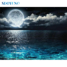 SDOYUNO 5d DIY Diamond Painting  Full square/round Diamond embroidery Mosaic Moon on the sea rhinestone pictures Cross Stitch sdoyuno full square round landscape 5d diy diamond painting rhinestone pictures mosaic cross stitch diamond embroidery