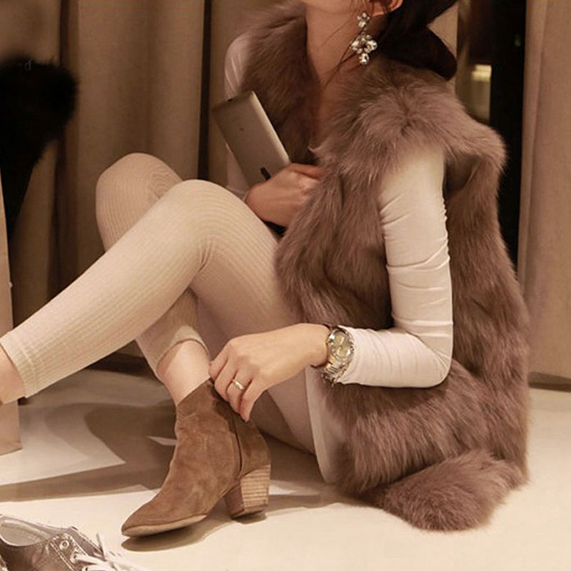 Faux Fur Coat Autumn Winter Women 2019 Fashion Casual Warm Slim Sleeveless Faux Fox Fur Vest Winter Jacket Women Plus Size 6XL