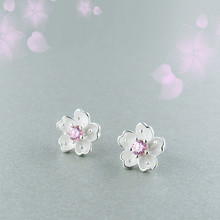 925 Sterling Silver Earrings Cherry Blossoms Stud For Women Romantic Style Girl Popular Gift Fashion Ear Jewelry